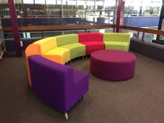 Colorful CONCLAVE Hub Low Back Curve Seats